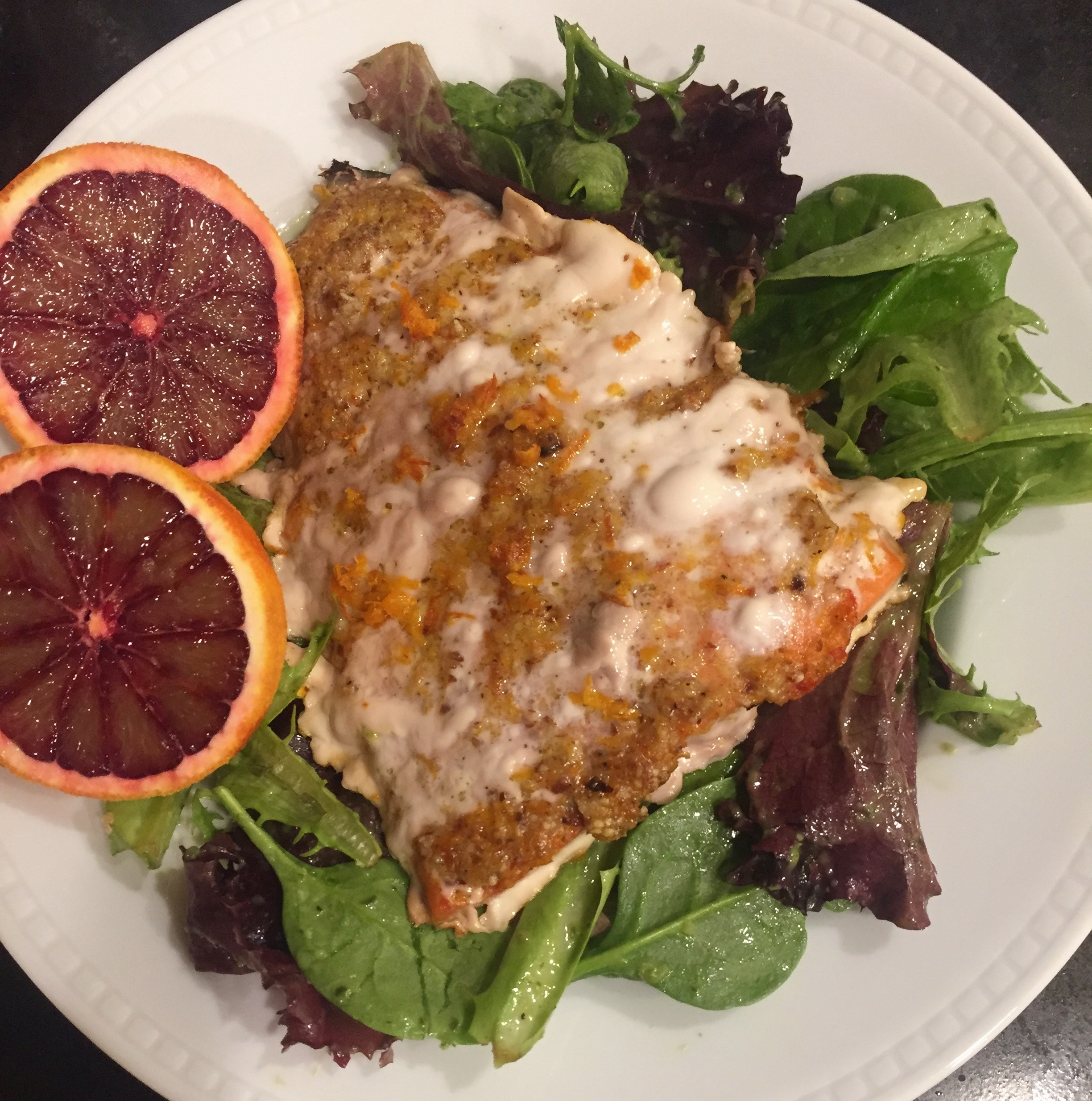 Blood orange almond roast salmon