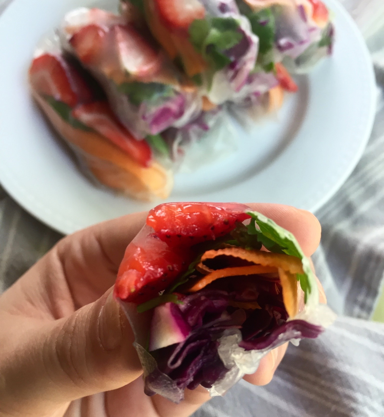 Bite of Savory Strawberry Summer Roll